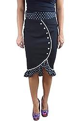 60's Bombshell Black High Waist Polka Dot Ruffled Hem with Bow Belt Skirt