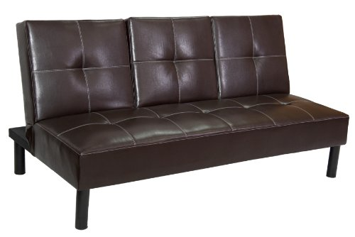 Home Source Industries 12393 Brown Click Clack Sofa with Center Drop Down Tray Convertible Bed, Brown