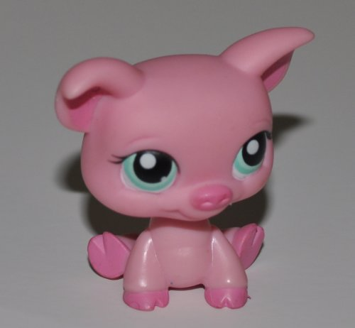 Pig #330 (Pink, Blue Eyes) - Littlest Pet Shop (Retired) Collector Toy - LPS Collectible Replacement Figure - Loose (OOP Out of Package & Print)
