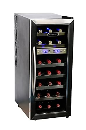 Whynter WC-211DZ 21 Bottle Dual Temperature Zone Wine Cooler, Stainless Steel Trimmed Glass Door with Black Cabinet