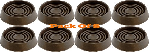 1 3 4 Inch Round Brown Cushioned Rubber Furniture Cups Caster Cups Wheel Grippers 8 Pack