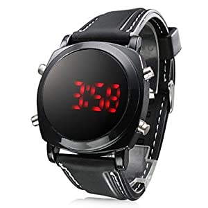 RayShop - Unisex Red LED Digital Round Dial Black Silicone Band Wrist Watch