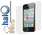 Halo Screen Protector Film Clear (Invisible) for iPhone 4G 4S 4 (3 Pack + 3 Bonus Back Films)