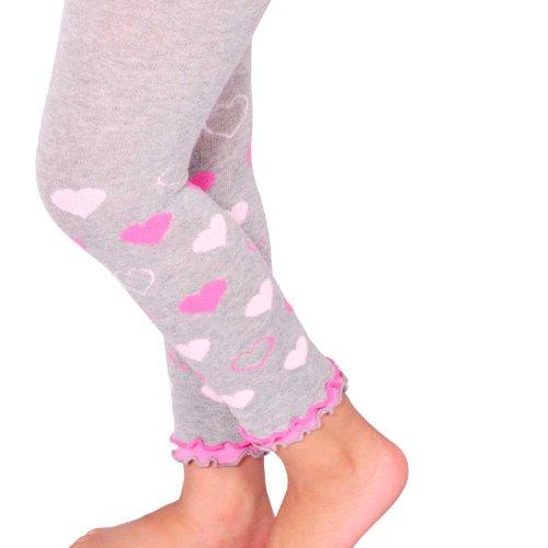 Naartjie Kids Legwear Girls Hearts Legging With Ruffle Bottom (3Yr-5Yr, Heather Gray) front-861015