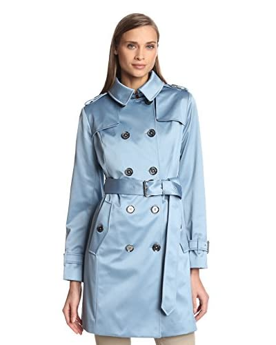 London Fog Women's Double-Breasted Satin Trench