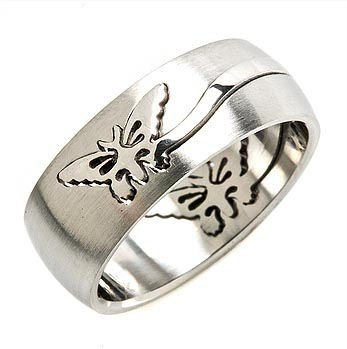 316L Stainless Steel Butterfly Puzzle Ring 2 parts 8mm Size 9