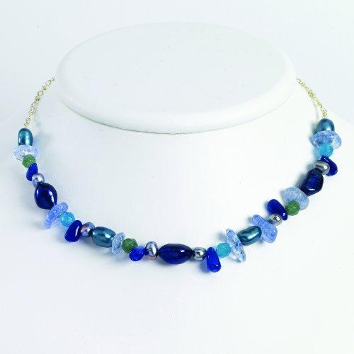Sterling Silver Aventurine/Blu Quartz/Freshwater Cultured Pearl Necklace