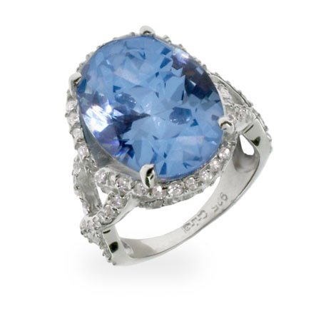 Sterling Silver Blue Topaz CZ Vintage Style Ring Size 6 (Sizes 5 6 7 8 9 Available)