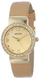 Breda Women's 2368-gold/cream Jennifer Rhinestone Mini Bezel Slim Watch