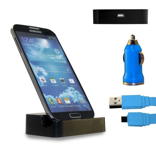 Shelfone 3 In 1 Bundle Premium High Quality Black Charging Dock Desktop Stand Docking Station Includes Coloured Includes Flat Micro Usb Data Cable & Universal Bullet Car Charger For Various Samsung Mobile Series Samsung Galaxy S4 I9500 I9505 Blue