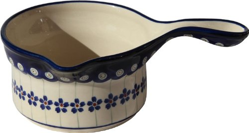 "Polish Pottery Saucepan From Zaklady Ceramiczne Boleslawiec #269-166A Floral Peacock Classic Pattern, Height: 3"" Diameter: 5"" Capacity: 17 Oz"