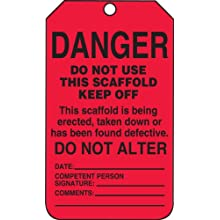 "Accuform Signs TSS101PTP Scaffold Status Tag, Legend ""DANGER DO NOT USE THIS SCAFFOLD - KEEP OFF: This scaffold is being erected, taken down or has been found defective,"" 5.75"" Length x 3.25"" Width x 0.015"" Thickness, RP-Plastic, Black on Red (Pack of 25)"