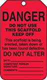 "Accuform Signs TSS101CTP Scaffold Status Tag, Legend ""DANGER DO NOT USE THIS SCAFFOLD KEEP OFF - THIS SCAFFOLD IS BEING ERECTED, TAKEN DOWN OR HAS BEEN FOUND DEFECTIVE"", 5.75"" Length x 3.25"" Width x 0.010"" Thickness, PF-Cardstock, Black on Red (Pack of 25)"
