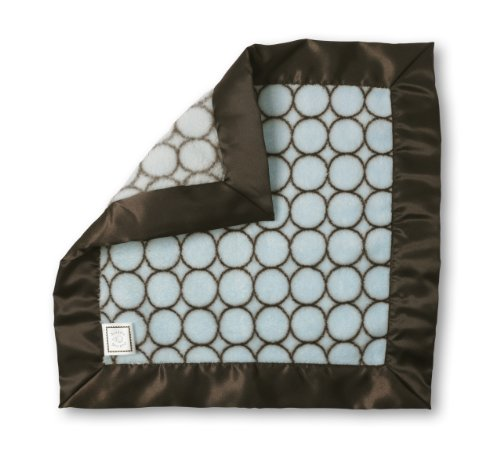 SwaddleDesigns Baby Lovie, Security Blankie in Brown Mod Circles, Pastel Blue