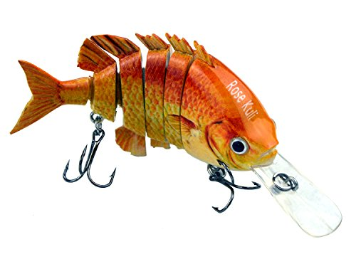 Rose Kuli Life Like Hard Body Swim Multi Jointed Hard Fishing Lure Hook Size #6 Orange 3.8″
