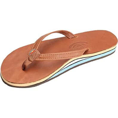 Rainbow Mens Double Layer Classic Leather with Arch Support Sandal - Classic Tan Blue, X-Large
