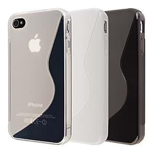 Ensemble de 3 x coque en silicone TPU pour iphone 4 4S 1 noire + 1 blanche + 1 transparente - 11010406