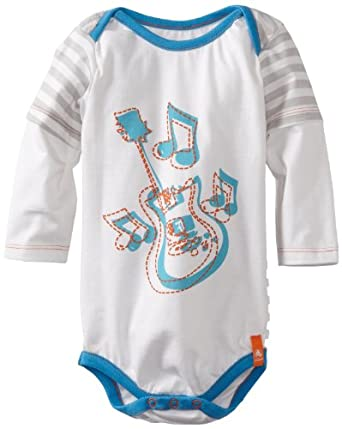 Crocs Unisex-Baby Infant Long Sleeve Bodysuit, White Ocean, 18 Months