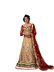 Beige Net And Silk Lehenga Choli