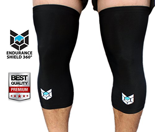 Knee Compression Sleeves (2 pcs) – Ultra Lightweight Knee Sleeves for Running, Hiking, Basketball, Working Out & All Types Of Outdoor Activities – Protects Patella – Improves Circulation – Endurance Shield 360® – 100% Money Back Guaranteed!