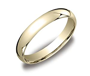 Women's 14k Yellow Gold 4mm Comfort Fit Plain Wedding Band, Size 6.5