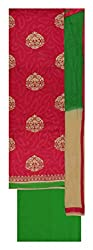 Punjaban Boutique Women's Cotton Unstitched Dress Material (Pink and Green)