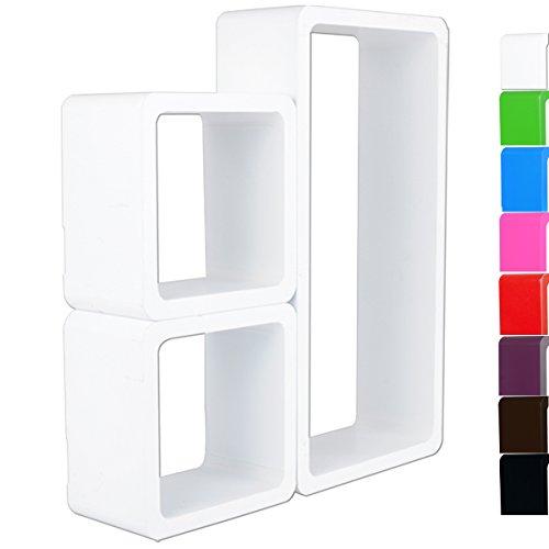 WOLTU #65 3er Set Lounge Cube Regal Retro Wandregal Bücherregal, MDF Holz (Weiß)