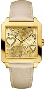 Guess Women's W90057L1 Beige Leather Quartz Watch with Gold Dial