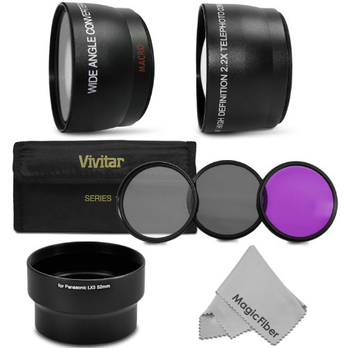 52Mm Lens Accessory Kit For Panasonic Lumix Dmc-Lx3 Leica D-Lux 4 Cameras - Includes: 2.2X Telephoto & 0.43X Wide Angle High Definition Lenses + Lens Adapter Tube + Vivitar Filter Kit (Uv, Cpl, Fld) + Magicfiber Microfiber Lens Cleaning Cloth