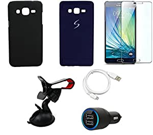 NIROSHA Tempered Glass Screen Guard Cover Case Car Charger USB Cable Mobile Holder for Samsung Galaxy ON7 - Combo