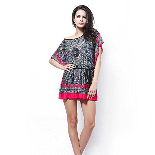 YOKIRIN Donna Vestiti Vintage Corti Abito sciolto manica a pipistrello etnici Mini abito (Hot Pink)