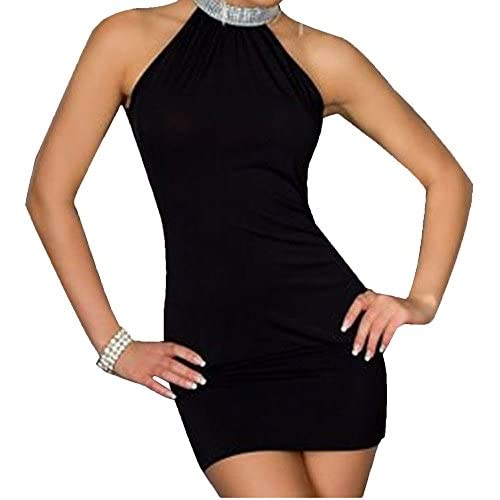 Halter neck Diamanté Detail Dress Size 8-10-12 Black,Blue,Pink & Green