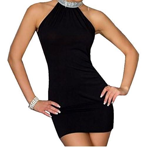 Halter neck Diamanté Detail Dress Size 8-10-12 Black,Blue,Pink & Green