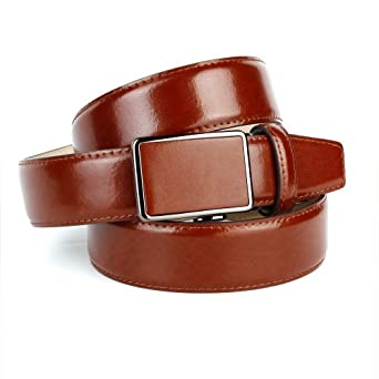 """Anthoni Crown Mens Leather Classic Smooth Belt, Cognac, 36-48"""" Length"""