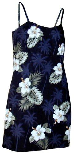 Pacific Legend Womens White Hibiscus Monstera Mini Sundress Black L