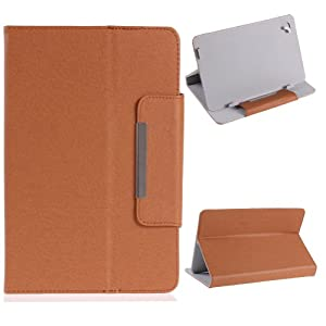 """NSSTAR Universal Textured Faux Leather Folio Stand Flip Protection Guard Case Cover with Magnetic Closure for 9"""" inch Android Tablet PC (Brown) from NSSTAR"""