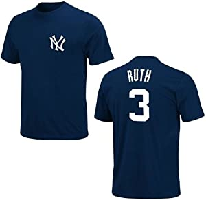 Babe Ruth ~ New York Yankees ~ Cooperstown Collection ~ Pro Sewn Tee Shirt ~ Adult... by Majestic