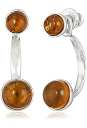 Honey Amber Sterling Silver Round Back-To-Front Omega Dangle Earrings