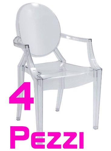 Sconto set 4 sedie design con braccioli in policarbonato for Sedie in policarbonato trasparente