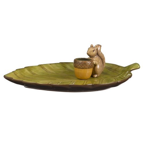 Grasslands Road Home Again Leaf Appetizer Tray with Squirrel Toothpick Holder
