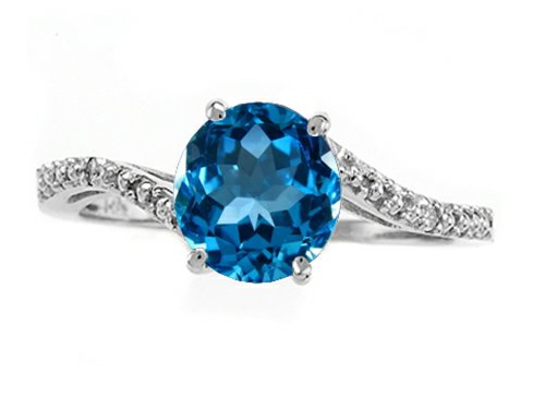 Tommaso Design Round 7Mm Genuine Blue-Topaz And Diamonds Bypass Ring 10K Size 9