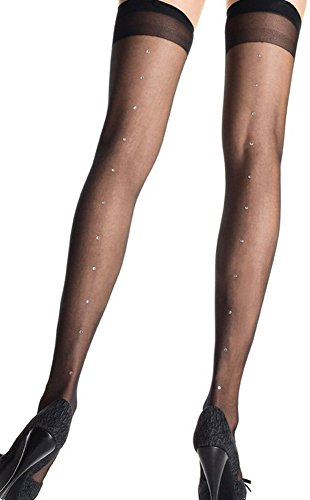 Ladies Rhinestone Backseam Nylon Grip Top Stockings