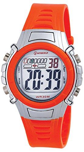 8Years- 1 Stueck Orange Kinder Laessig Digitaluhr Armbanduhr Sportuhr Stoppuhr Wasserdicht