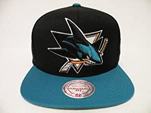 Mitchell and Ness NHL San Jose Sharks Big Logo 2 Tone Retro Snapback Cap