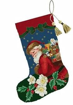 クロスステッチ★エレン図案「EMS023 Christmas Rose Stocking」クリスマスローズとサンタさんの靴下