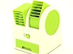 USB Mini Dual Bladeless Desktop Desk Cooling Fan Air Conditioner Green