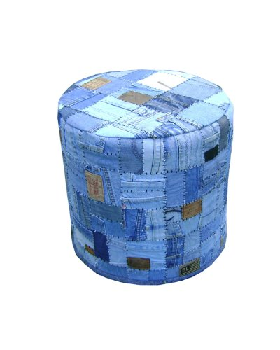 Mod Home Collection 17.7-Inch Handmade Denim Patch Round Ottoman