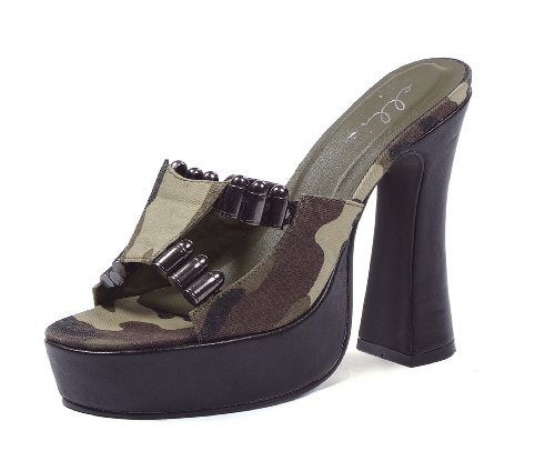 ES557-ARMY 5 inch Chunky Heel Mule Women's Size Shoe With Camo Fabric and Faux Bullet Décor (Camouflage-5)