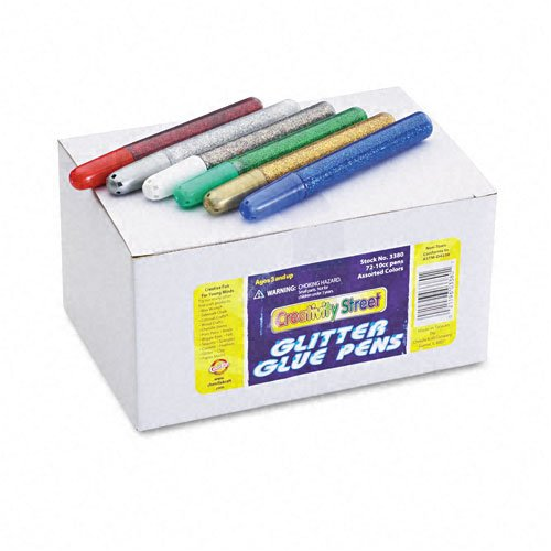 Chenille Kraft® Glitter Glue Pens, 12 Assorted Colors, 10cc Tubes, 72 per Pack