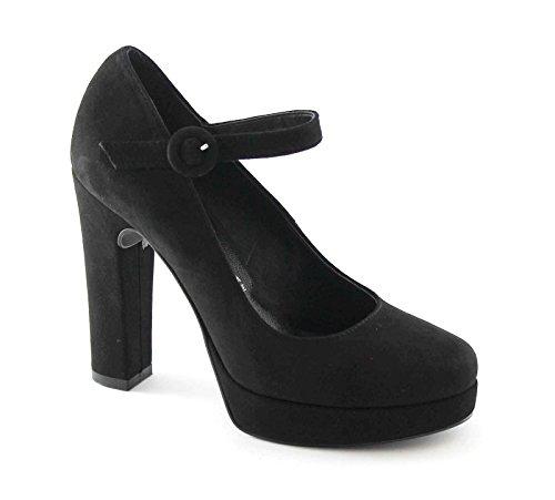 DIVINE FOLLIE 1101 nero scarpe donna decolletè cinturino tacco grosso 38